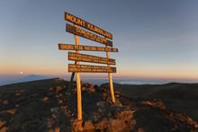 Uhuru Peak (highest Summit) On Mount Kilimanjaro In Tanzania, Africa.