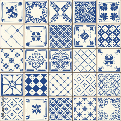 Fotografía  Indigo Blue Lisbon Paint Tile Floor Oriental Spain Azuejos Ornament Collection S