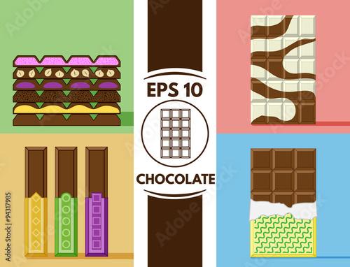Fotografia, Obraz  Flat chocolate collection eps10