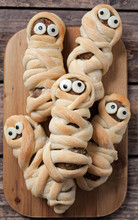 Scary Halloween Food Sausage Meatball Mummies In Dough Baked For