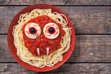 Scary Halloween Food Pasta Vampire Monster Face With Big Eyes