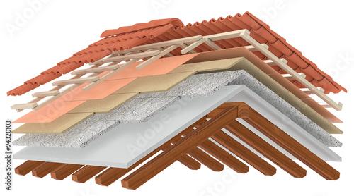 Fotografia, Obraz  thermal insulation of a roof