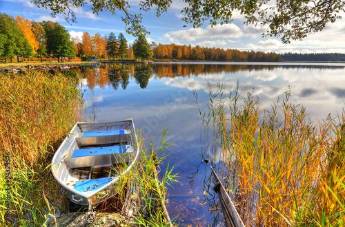 Alluminium boat in Swedish autumn scenery