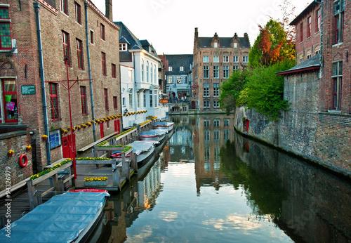 Wall Murals Bridges Houses in Bruges, Beglium