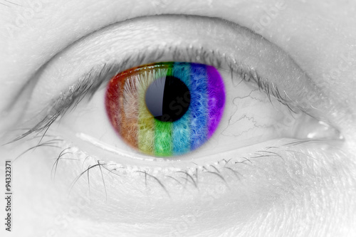 Poster Iris rainbow colours in a woman eye