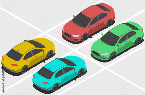 Staande foto Cartoon cars Car for Isometric world