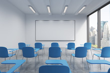 A Classroom Or Presentation Room In A Modern University Or Fancy Office. Blue Chairs, A Whiteboard On The Wall And Panoramic Windows With New York View. 3D Rendering.