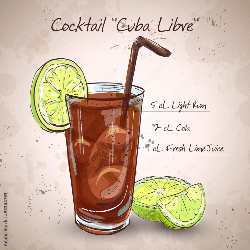 Fotografie, Obraz Cocktail Cuba Libre