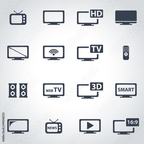 Fotografía  Vector black tv icon set