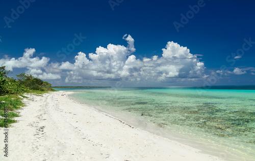 stunning beautiful gorgeous Cuban Cayo Coco beach against deep blue sky and tran Canvas Print