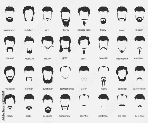 Photographie hair and beards of different faiths
