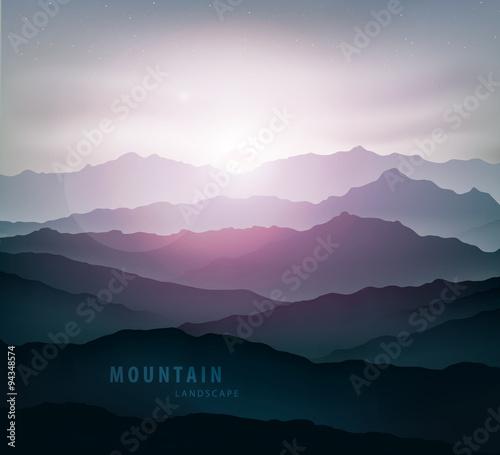 Printed kitchen splashbacks Eggplant dark blue mountain landscape with fog