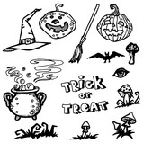 Halloween Objects Collection - hand drawn vector