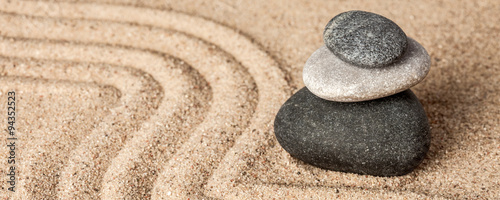 Printed kitchen splashbacks Stones in Sand Japanese Zen stone garden
