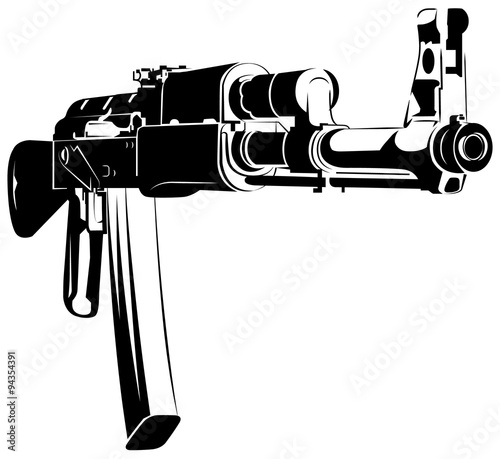 Photo Vector illustration black and white machine gun ak 47