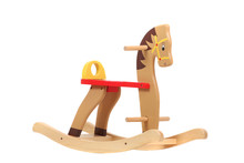 Wooden Rocking Horse, Isolated On White. Children Toy