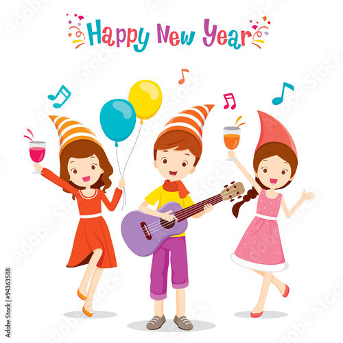 Girls And Boy Fun With Party, Happy New Year, Merry Christmas, Xmas ...