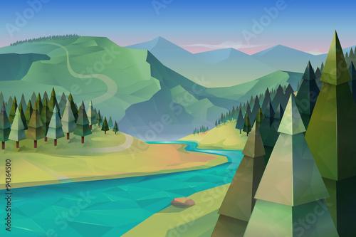 Foto op Canvas Pistache Forest landscape, nature vector background