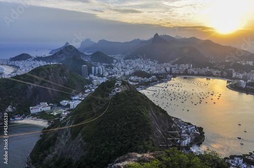 In de dag Rio de Janeiro Panoramic view at sunset in Rio de Janeiro, Brazil
