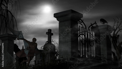 Fotobehang Begraafplaats Vampire at a graveyard on a foggy night with full moon
