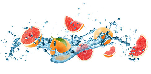 Obraz na Szklegrapefruets in water splash isolated on the white background
