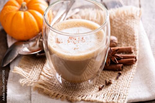 Fotografie, Obraz  Pumpkin spice latte with spices