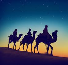 Three Wise Men Riding Camel Desert Dusk Concept