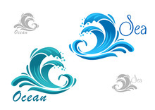 Blue Sea Waves Icon With Water...