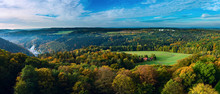 Aerial View Of Fall Foliage, Majestic Mountains Landscape With F