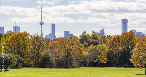 Autumn urban  landscape with Toronto skyline on the background