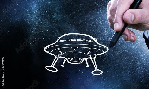 Foto op Canvas UFO UFO ship. Concept image