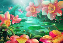 Illustration: The Peaceful Flower River Where A Fairy Visits Often. Realistic / Cartoon Style. Fantasy Topic. Scene / Wallpaper / Background Design.