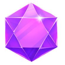 Illustration: The Hexagon Gem. Element Creation. Game Assets.
