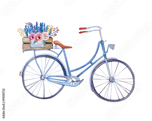 Poster Velo watercolor vintage bicycle with box of flowers.