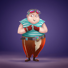 Illustration: The Fantastic Fat Pilot Boy Of Pirate Spaceship In White Background. Realistic / Cartoon Style. Leading Role / Main Character Design.