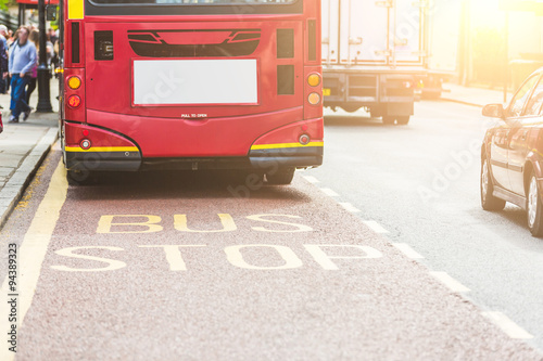 London red bus on the bus lane Canvas Print