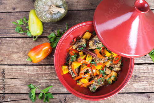Moroccan Tagine with lamb, pumpkin and red pepper