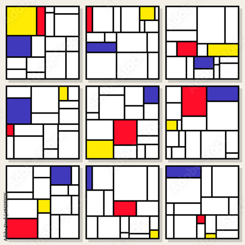 Photo  Set Of Nine Vector Square Compositions in Piet Mondrian De Stijl Style