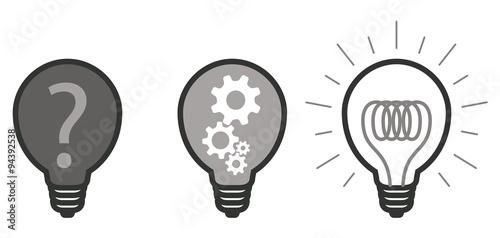 ampoule picto vecteurs question engrenage réponse 2 Canvas Print