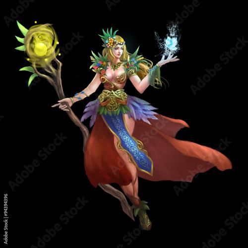 Fotografie, Obraz  Illustration: The Forest Green Fairy - Goddess of Flowers