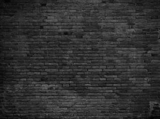Fototapeta Part of black painted brick wall. Empty