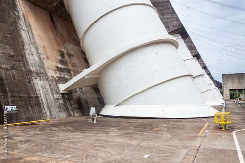 Deurstickers Dam Giant penstocks of Itaipu dam on river Parana on the border of Brazil and Paraguay