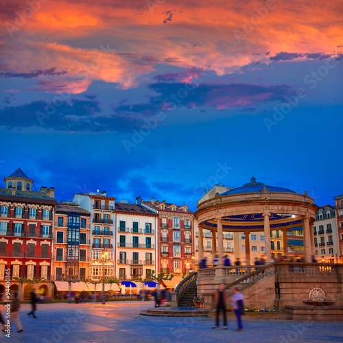 Pamplona Navarra Spain plaza del Castillo square Canvas