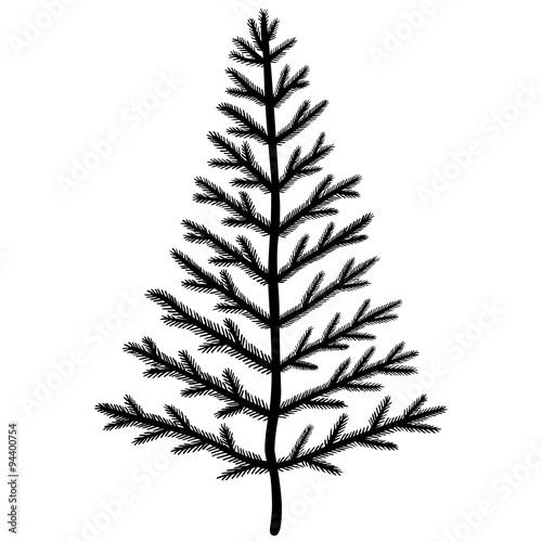 Weihnachtsbaum Schwarz Weiß.Abstrakter Weihnachtsbaum Mit Tannennadeln Ungeschmückt