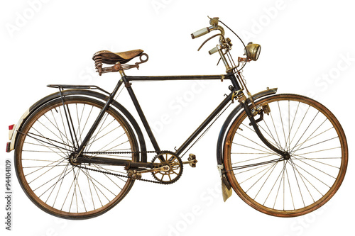 Foto op Plexiglas Fiets Vintage rusted bicycle isolated on white