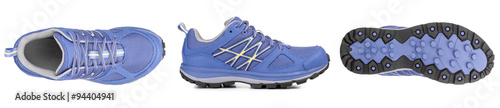 Fototapeta three sides of blue sport shoe obraz