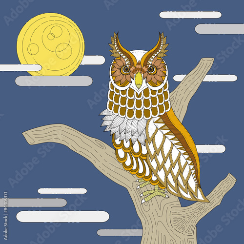 lovely owl coloring page - 94406371