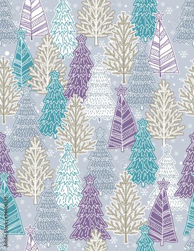 Stoffe zum Nähen Weihnachten Hintergrund mit Wald von Weihnachtsbäumen, Vektor
