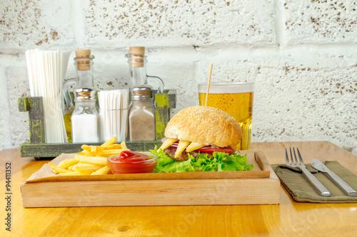 Fototapeta Burger and fries obraz na płótnie
