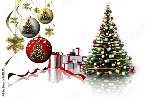 Decorazioni Natalizie 94.Albero Regali Di Natale 007 Abete E Decorazioni Natalizie Con Pacchi Dono Stock Illustration Adobe Stock